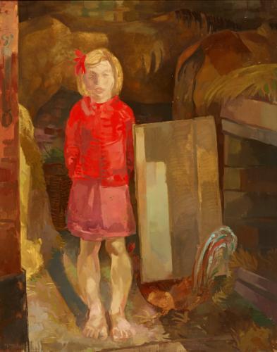Duray Tibor: Istállóajtóban (Piros ruhás lány)