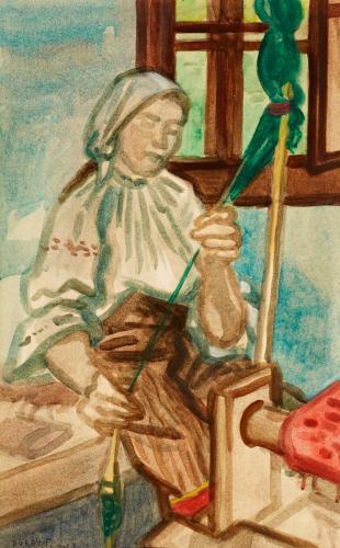 Duray Tibor: Fonó asszony (Guzsalyozó; Nő guzsallyal)