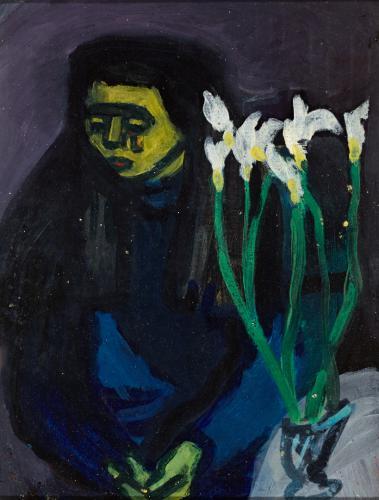 Duray Tibor: Nő liliomokkal (Özvegy)