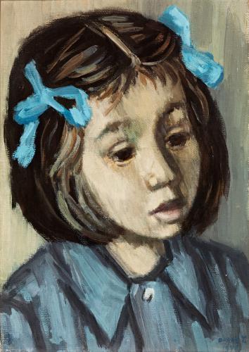 Duray Tibor: Kékszalagos Eszter (Leányka kék szalaggal; Leány kék szalaggalKislányfej)