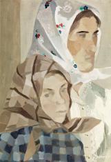 Duray Tibor: Kettős portré (Kendős asszony lányával)