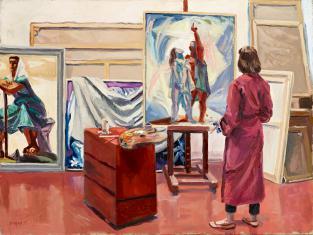 Duray Tibor: Lilla műteremben (Műteremben, Festő ecsettel)